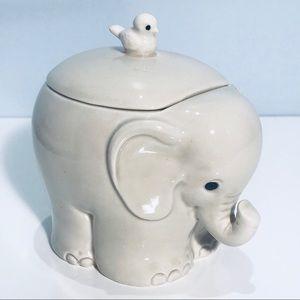 Elephant Sugar Bowl With Bird Vintage Japan
